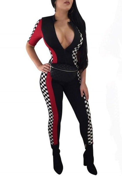 Checkered Jumpsuits Women Sexy Clubwear Zipper Bodycon Race Capri Rompers - Fashion Under Arrest