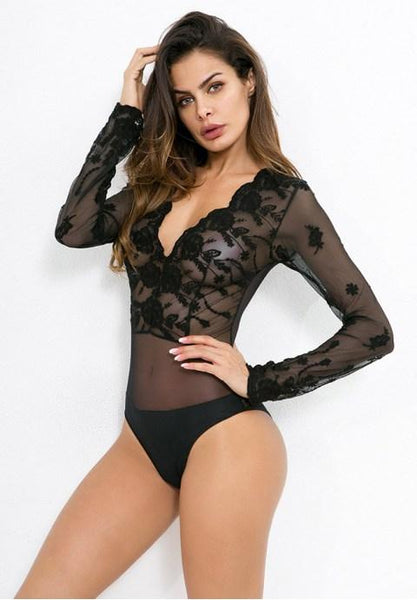 Sexy V-neck Long Sleeves Lace Teddy - Fashion Under Arrest