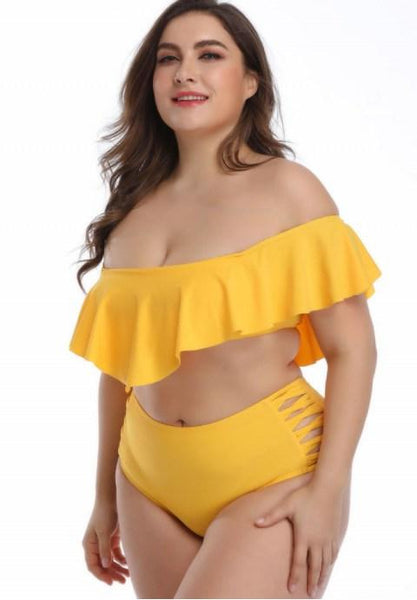 Plus Size Off-The-Shoulder Two Piece Swimsuit.