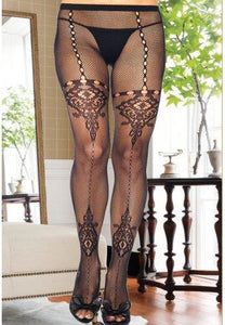 Pantyhose With Keyhole And Floral Lace - Fashion Under Arrest