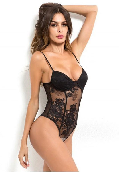 Sexy Sling Embroidery Flower Lace Teddy - Fashion Under Arrest
