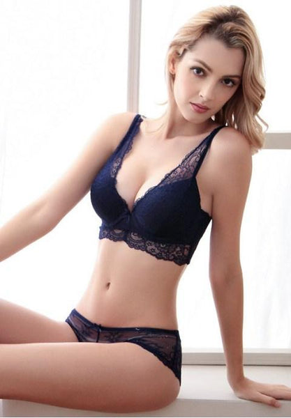 Sexy Lingerie Gathering Push Up Bra Set - Fashion Under Arrest