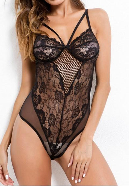 Sexy Hollow Embroidery Lace Teddy.
