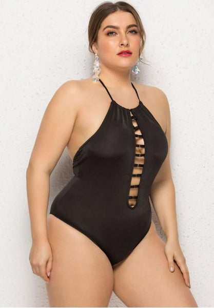 Plus Size Solid Color One Piece Swimsuit - Fashion Under Arrest