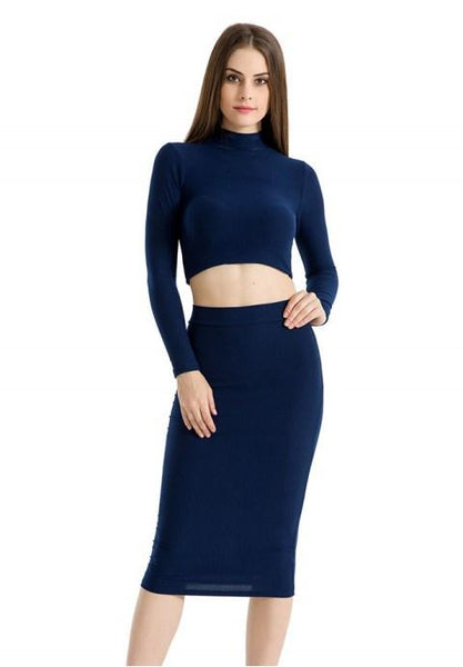 Women's Turtleneck Long Sleeve 2 Piece Casual Party Evening Midi Dress.