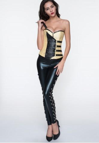 Streampunk Jacquard Faux Leather One Shoulder Overbust Corset .