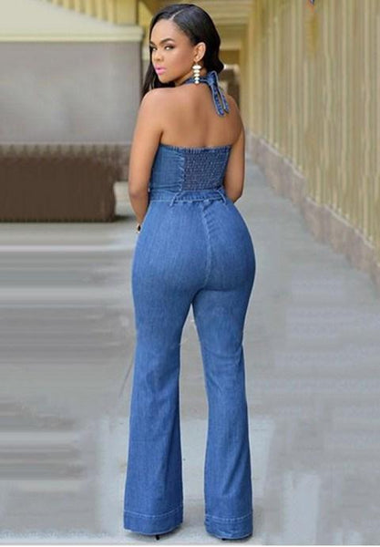 Halter Denim Lace-Up Jumpsuit.