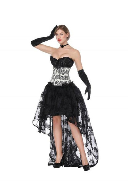 Sexy Sweetheart Jacquard Overbust Corset And High Low Skirt.