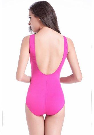 Solid Deep V Neck Hollow Back Swimsuit.
