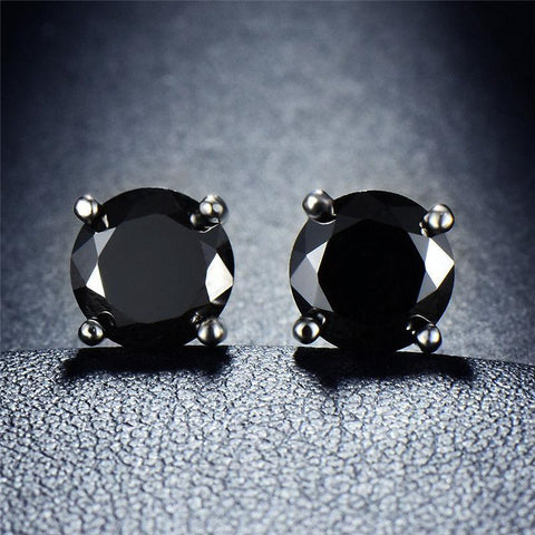 Black Onyx Embellished with Swarovski Crystals 7mm Stud Earringin 18K White Gold Plated.