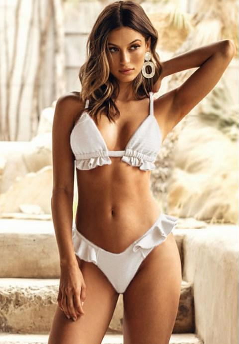 Ruffle V Neck Bikini Swimsuit.