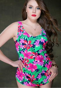 Women's One-Piece Triangle Size Print Swimsuit.
