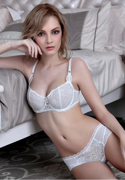 Sexy Sheer Floral Lace Bra Set.