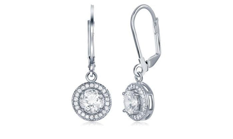Pave Halo Disc Drop Earring Embellished with Swarovski Crystals in 18K White Gold Plated.