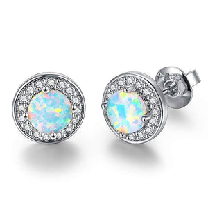 2.00 Ct Opal Created Round Halo Stud Earringin 18K White Gold Plated