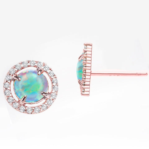 2.50 Ct Opal Created Round Halo Stud Earringin 18K Rose Gold Plated - Fashion Under Arrest