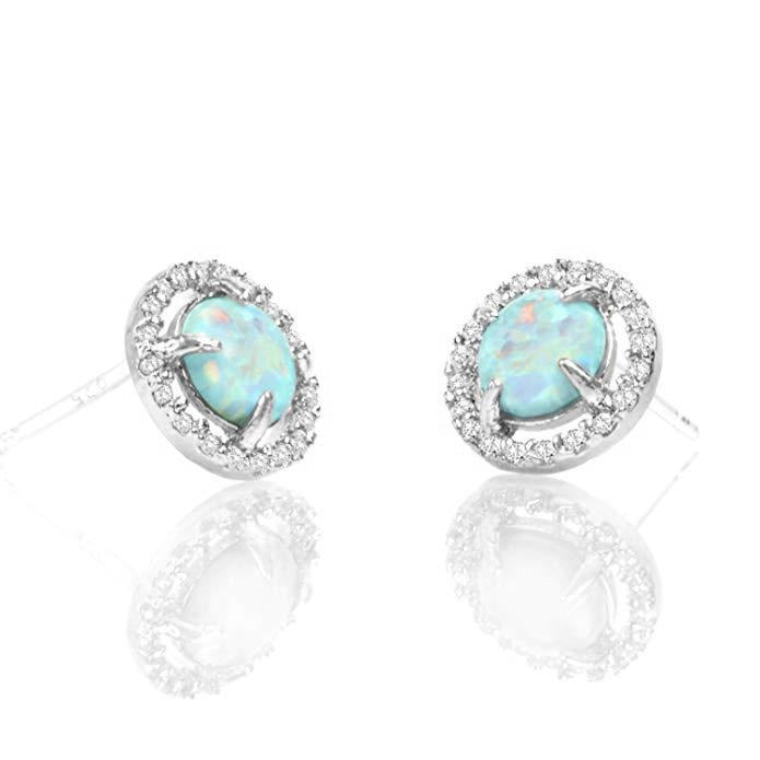 2.50 Ct Opal Created Round Halo Stud Earringin 18K White Gold Plated