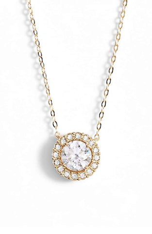 "1.00 CT Swarovski Crystal Halo Disc Necklace 18"" - 18K Gold Plated"
