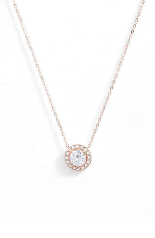 "1.00 CT Swarovski Crystal Halo Disc Necklace 18"" - 18K Rose Gold Plated"