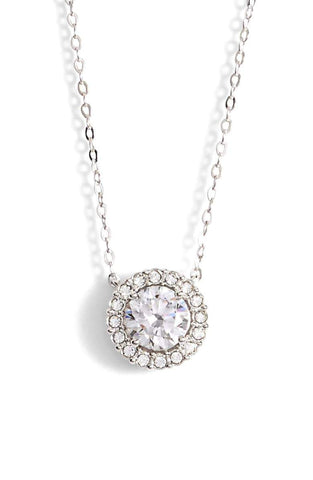 "1.00 CT Swarovski Crystal Halo Disc Necklace 18"" - 18K White Gold Plated"
