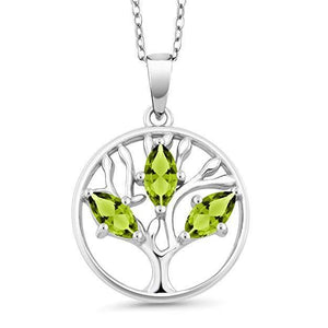 Motherly 2.00 CT Peridot Pear Cut Tree Of Life Necklace in 18K White Gold Plated