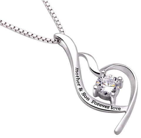 """Mother & Son Forever Love"" Heart Necklace Embellished with Swarovski Crystals in 18K White Gold Plated"