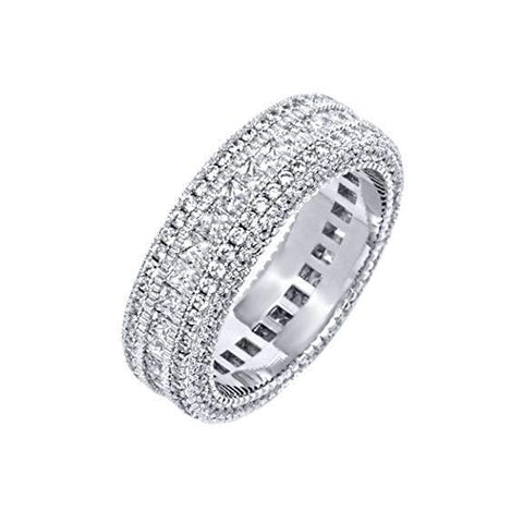 Classic Diamond Created Eternity Princess Cut Ring in 18K White Gold Plated - Fashion Under Arrest