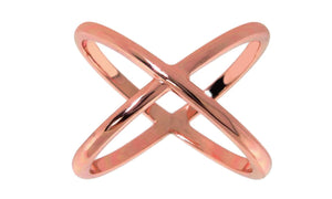 X Cross Ring in 18K Rose Gold Plated.
