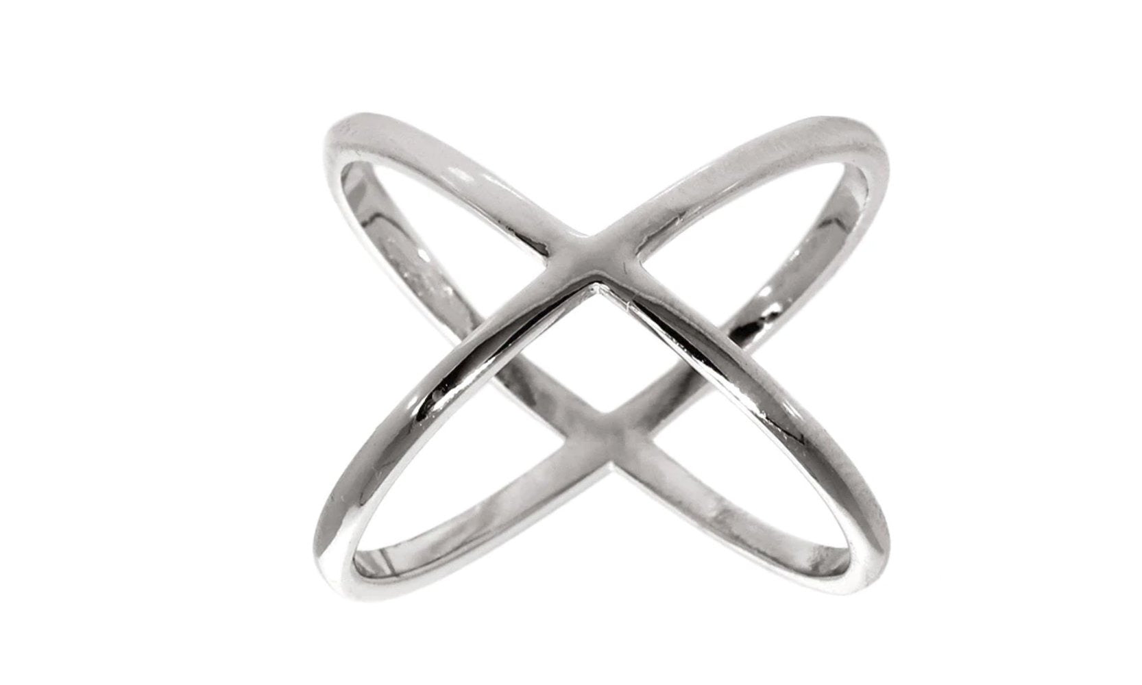 X Cross Ring in 18K White Gold Plated.