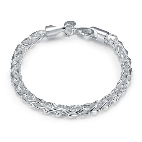 "Popcorn Mesh Bracelet in 18K White Gold Plated 7.5"" - Fashion Under Arrest"