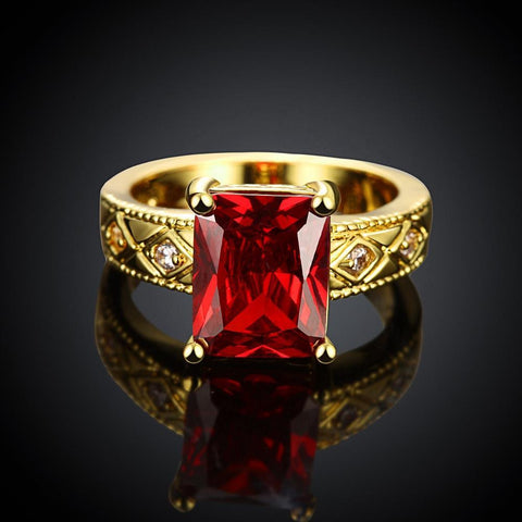 Ruby Emerald Cut Center Halo Ring in 14K Gold - Fashion Under Arrest