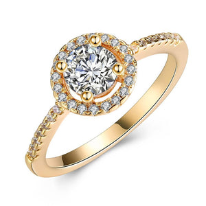 Circular Pav'e Swarovski Elements Halo 18K GoldRing