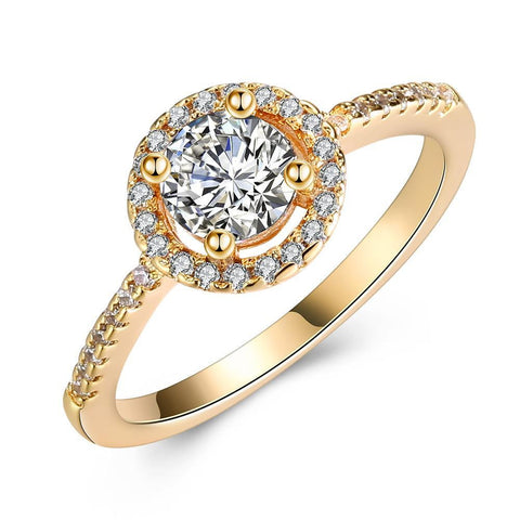 Circular Pav'e Swarovski Elements Halo 18K GoldRing.