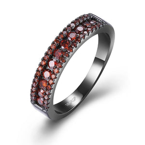 Red Swarovski Two-Lining Ring in Black Gun Plating