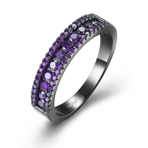 Purple Swarovski Two-Lining Ring in Black Gun Plating.