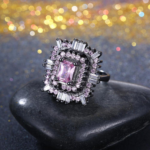 Pink & White Swarovski Halo Ring in Black Gun Plating