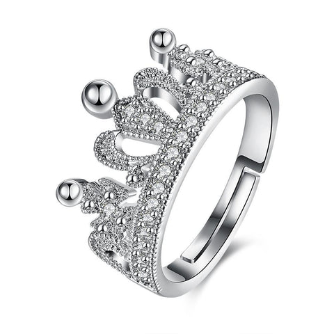 Swarovski Elements Adjustable Princess Tiara Ring in 18K White Gold Plating.