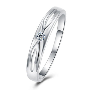 18K White Gold Plated  Swarovski Criss-Cross Ring