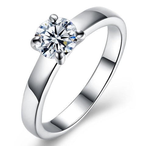 18K White Gold Plated  Single Swarovski Solitaire Ring.