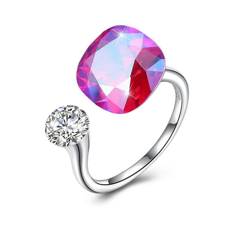Pink Sapphire Halo Cut Adjustble White Gold Ring.
