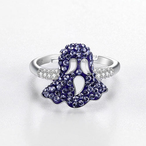 Sterling Silver Purple Swarovski Mushroom Ring.