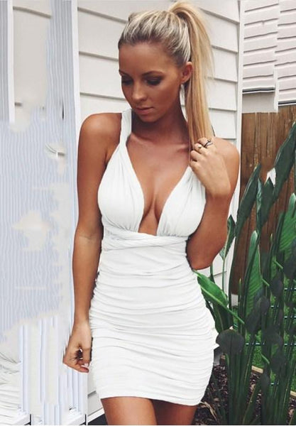 Sexy Deep V-neck Backless Bodycon Clubwear Midi Dress.