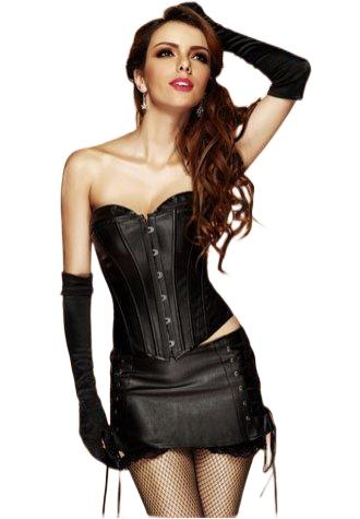 Faux Leather Long Line Bustier with Mini Skirt - Fashion Under Arrest