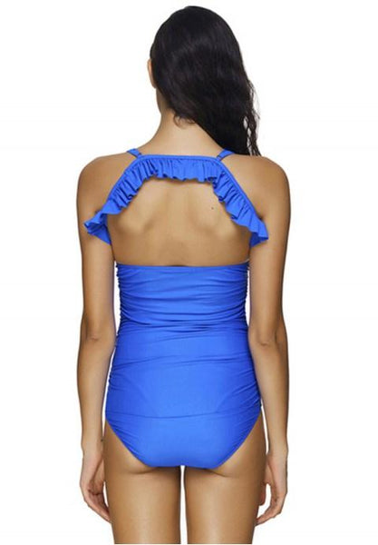 One-Piece Sexy Halter Neck Solid Color Swimsuit - Fashion Under Arrest