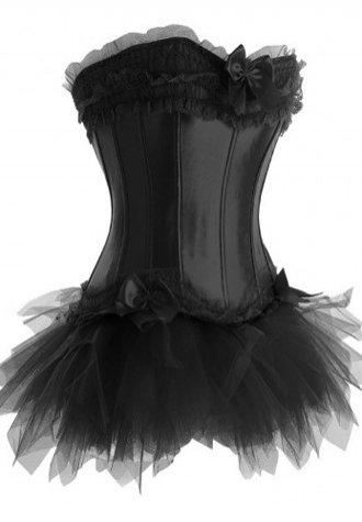 One Set-Ruffle Trimmed Long Line Satin Corset Bustier with Lacy Tutu Skirt in White Red Pink Black - Fashion Under Arrest