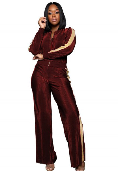 Women's Long Sleeve Zip Up Top and Wide Leg Long Pant Set.