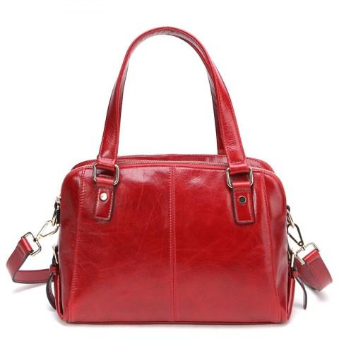 Zip Genuine Leather Tote Shoulder Bag Three Interlayer