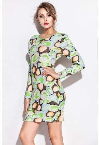 Candy Color Long Sleeve Stone Pattern Print Club Dress - Fashion Under Arrest