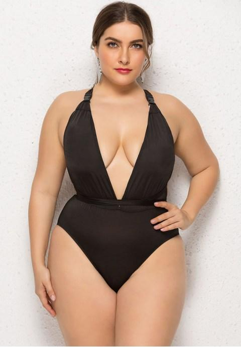 Plus Size deep V-neckline One Piece Swimsuit.