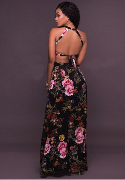 Printed Open Back Maxi Dress.
